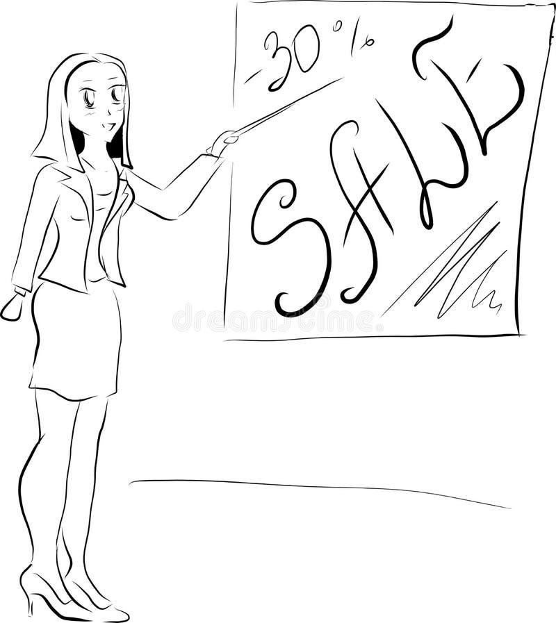 Ragazza di schizzo di vettore con la vendita di parole illustrazione di stock