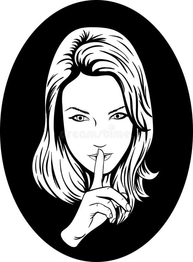 Ragazza di silenzio illustrazione vettoriale
