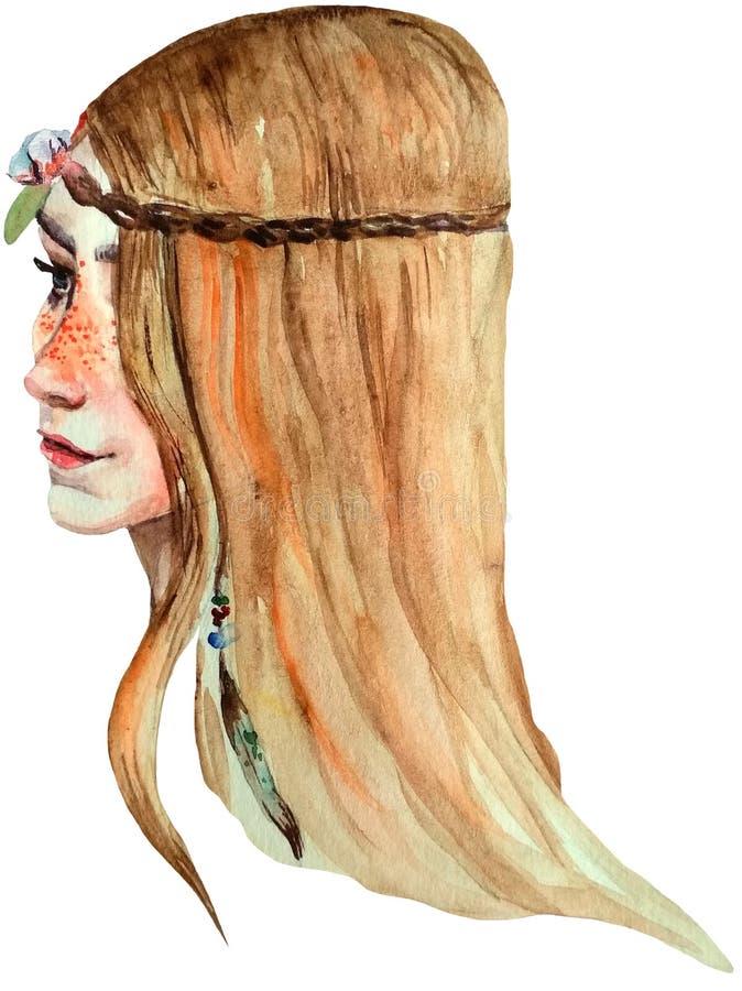 Ragazza di stile di boho dell'acquerello con le lentiggini, gli occhi azzurri ed i capelli lunghi luminosi illustrazione di stock