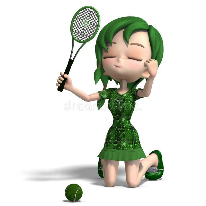 Ragazza di Toon in vestiti verdi con la racchetta ed il tennis illustrazione di stock