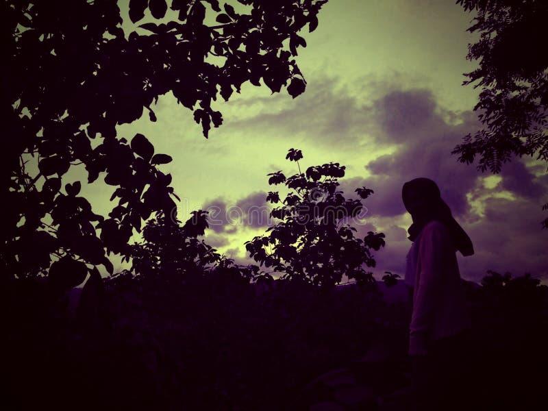 Ragazza di tramonto fotografie stock