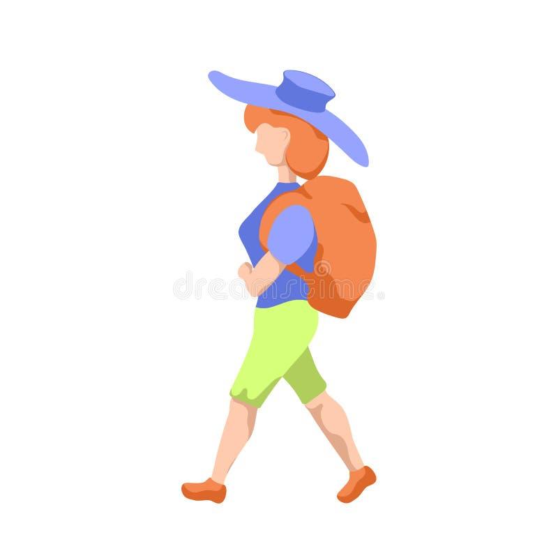 Ragazza di viaggiatore con zaino e sacco a pelo in cappello, illustrazione piana di stile su fondo bianco Donna di viaggio con lo illustrazione di stock