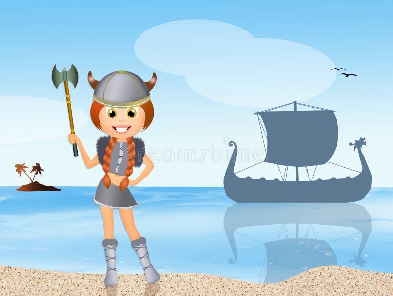 Ragazza di Viking illustrazione di stock