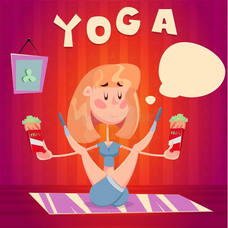 Ragazza di yoga con alimento immagine stock