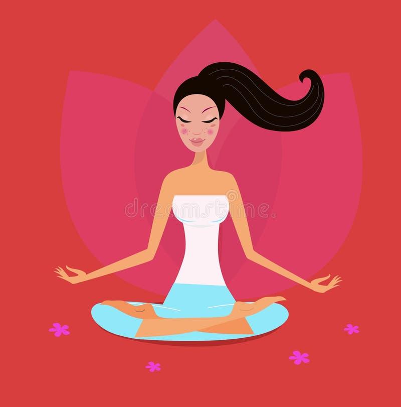 Ragazza di yoga nella posizione di loto isolata su colore rosso illustrazione di stock