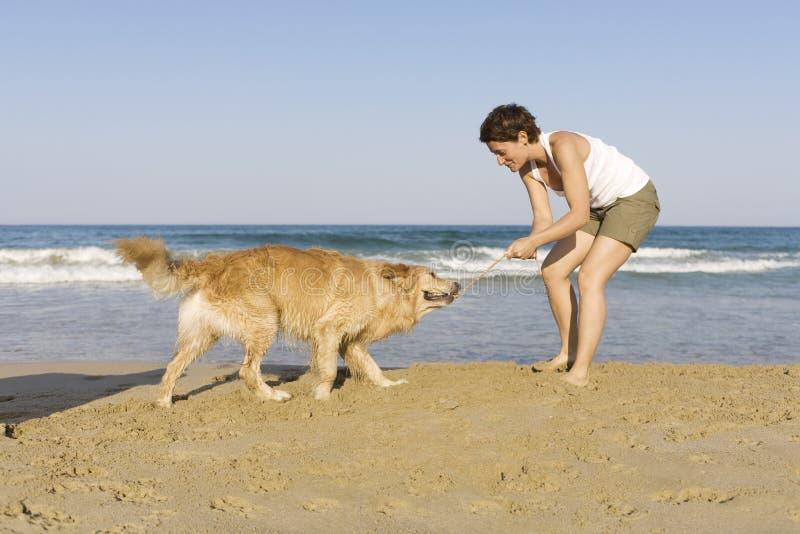 Ragazza di Yong che gioca con il suo cane fotografie stock