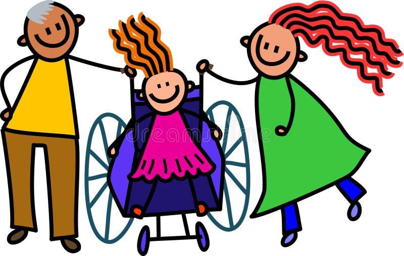 Ragazza disabile e genitori illustrazione di stock
