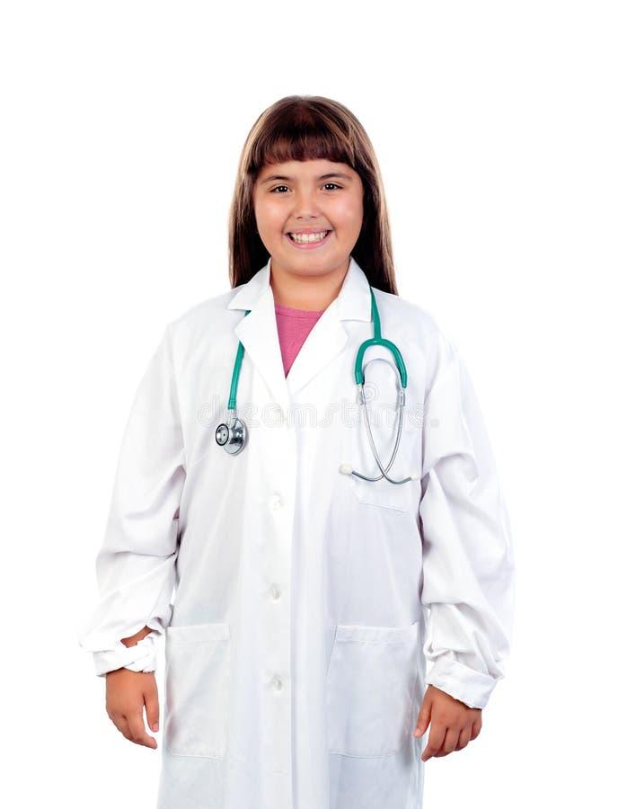 Ragazza divertente con l'uniforme di medico immagini stock