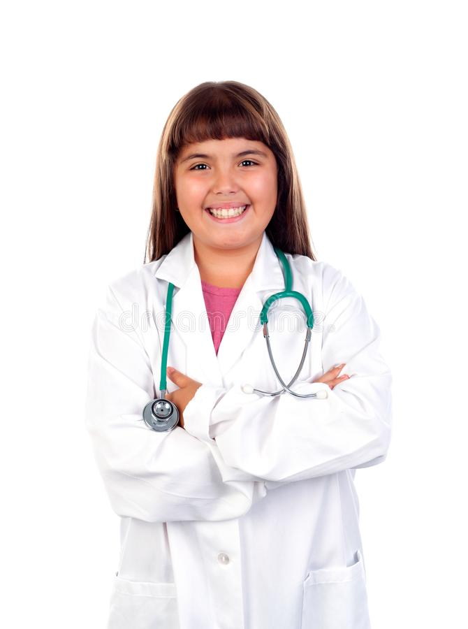 Ragazza divertente con l'uniforme di medico fotografia stock libera da diritti