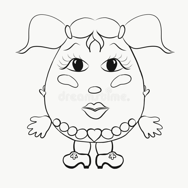 Ragazza divertente dell'uovo della coloritura dei bambini illustrazione vettoriale