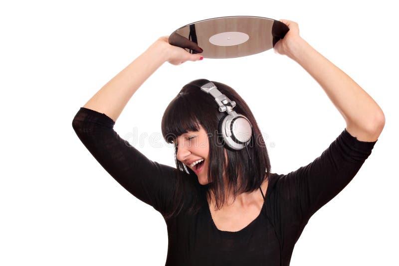 Ragazza DJ che tiene un lp immagini stock libere da diritti