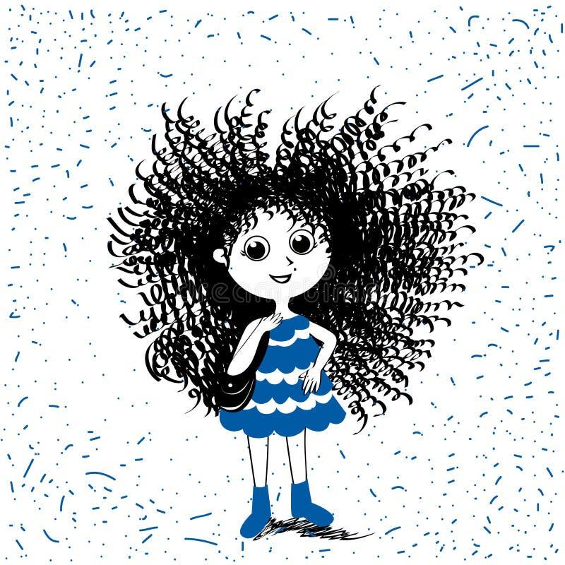 Ragazza dolce sveglia di tendenza di estate della primavera Illustrazione di modo per l'abbigliamento dei bambini illustrazione vettoriale