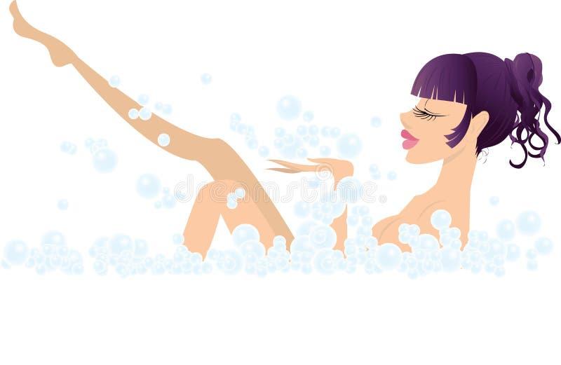 Ragazza e bagno sexy illustrazione vettoriale