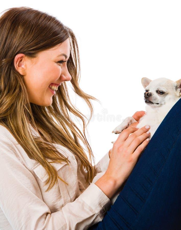 Ragazza e cane immagine stock