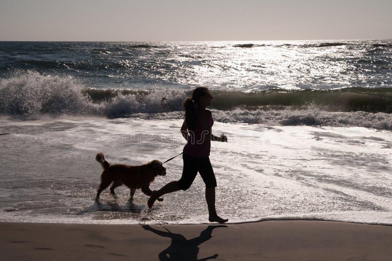Ragazza e cane che funzionano sulla spiaggia immagine stock libera da diritti