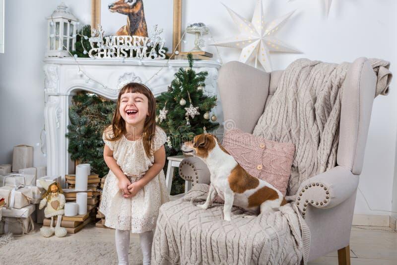 Ragazza e cane felici divertenti immagini stock