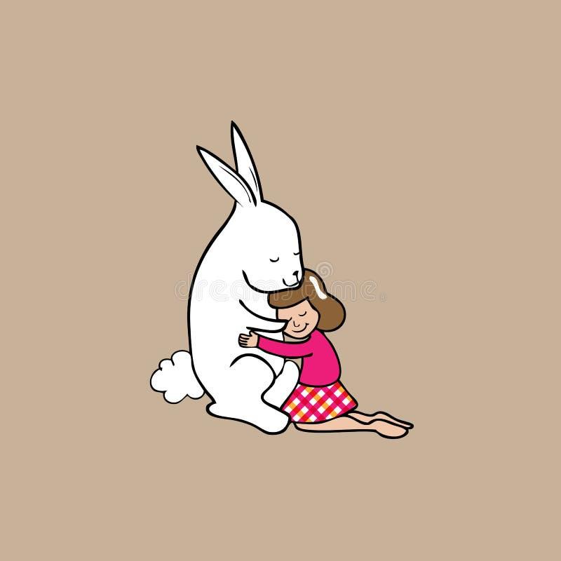 Ragazza e coniglio di Hig illustrazione di stock