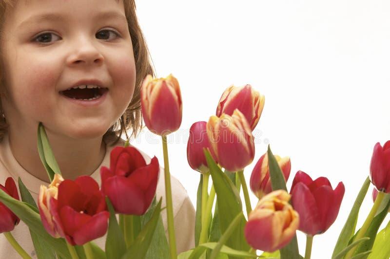 ragazza e fiori immagine stock libera da diritti