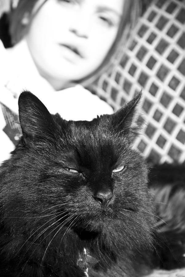 Dipinti ragazza e gatto nero