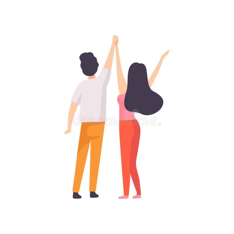 Ragazza e Guy Standing con le mani sollevate, vista posteriore, rilassamento della gente, facente festa festival dell'aria aperta royalty illustrazione gratis