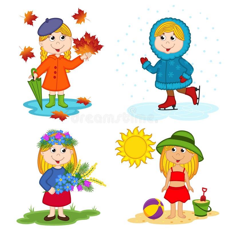Ragazza e le quattro stagioni illustrazione vettoriale