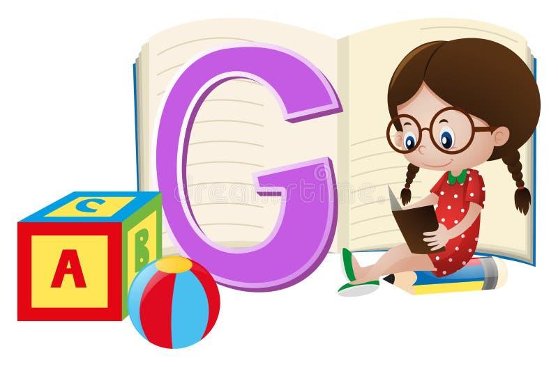 Ragazza e lettera G su carta illustrazione di stock