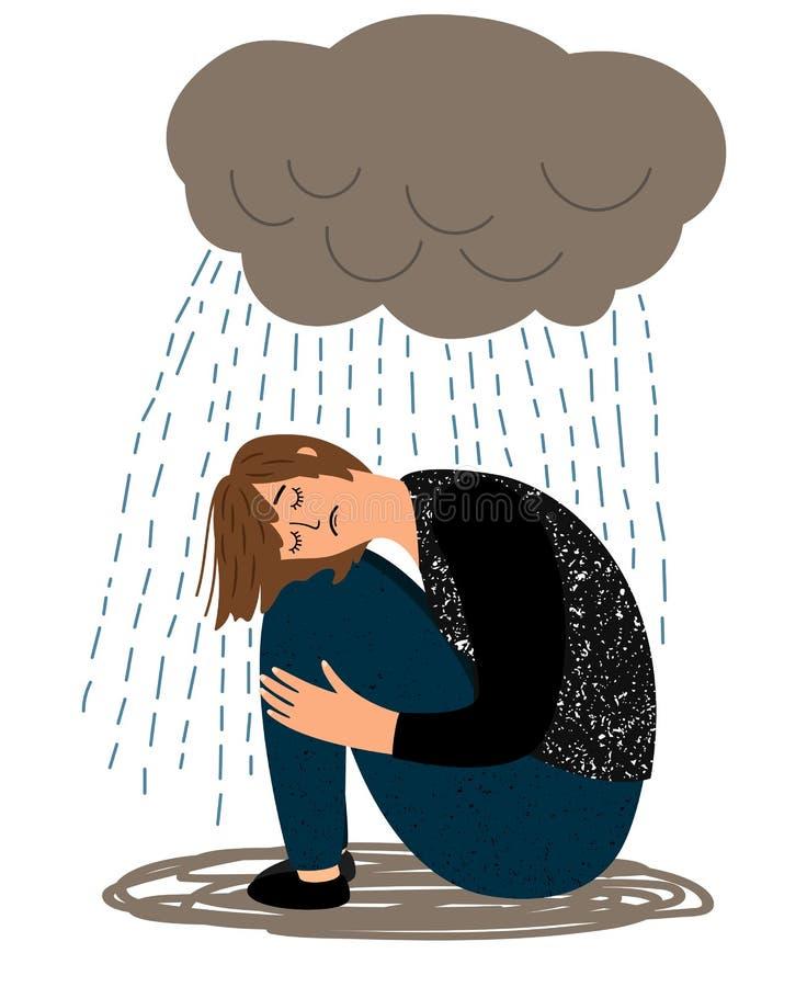 Ragazza e pioggia depresse gridare illustrazione di stock