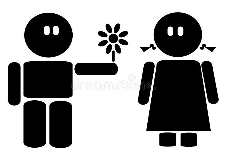 Ragazza e ragazzo con il fiore illustrazione vettoriale
