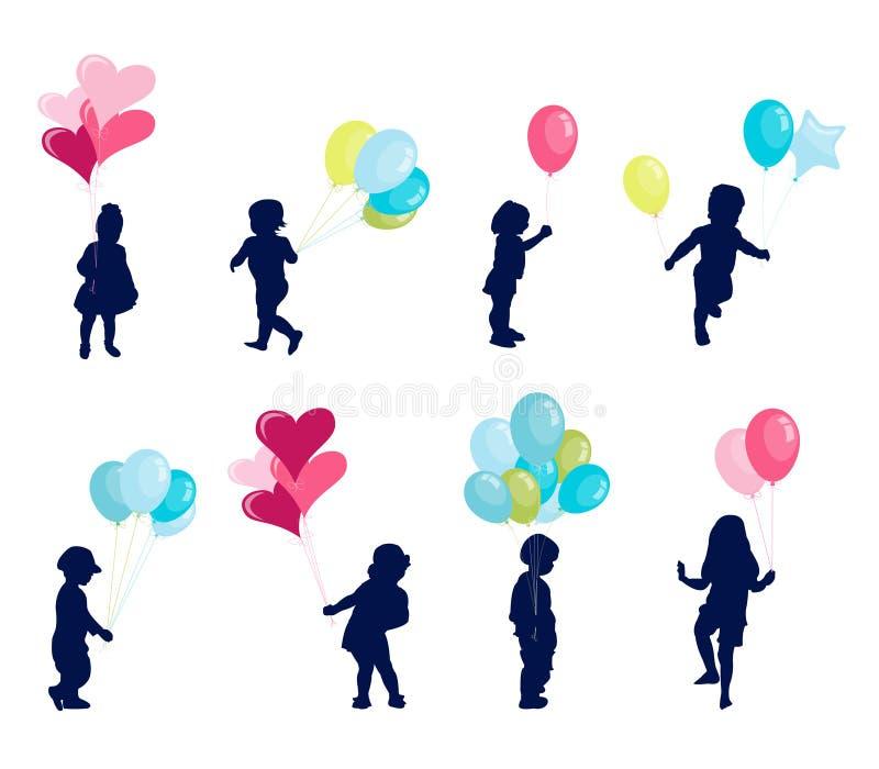 Ragazza e ragazzo con l'aerostato, bambini felici illustrazione di stock