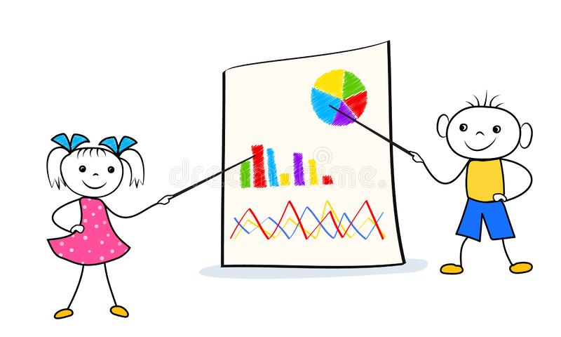 Ragazza e ragazzo dell'uomo del bastone che indicano sul grafico di vibrazione durante la presentazione di affari Concetto del la illustrazione di stock