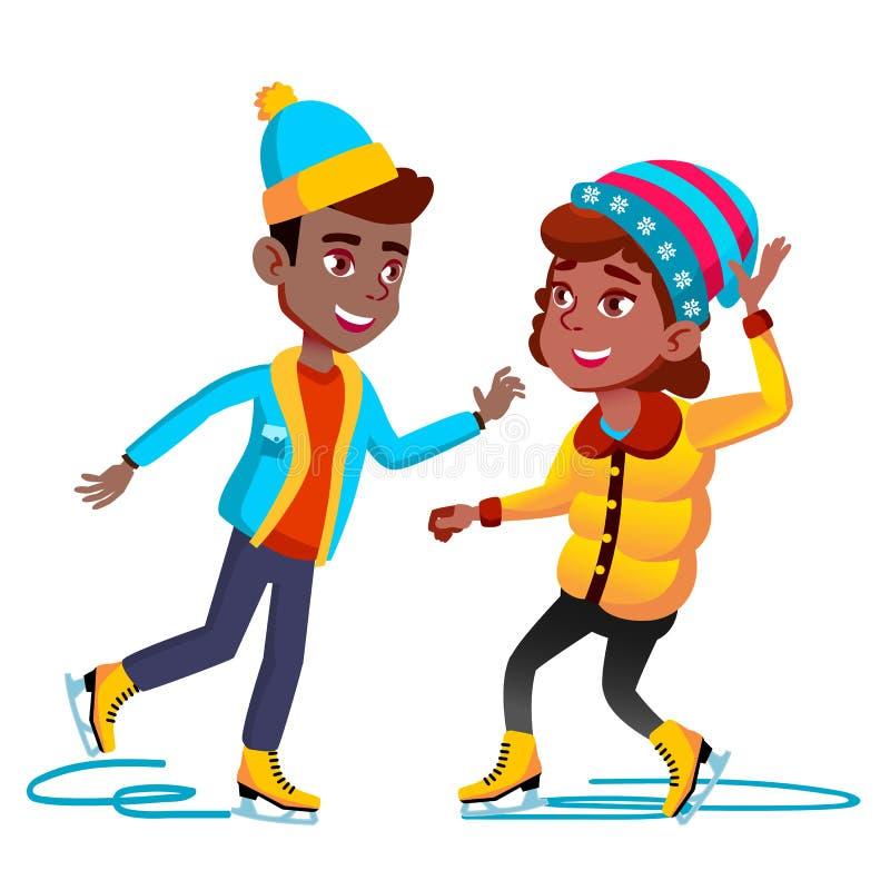Ragazza e ragazzo di Americal di afro in vestiti di inverno che pattinano sul vettore del ghiaccio Illustrazione isolata illustrazione di stock