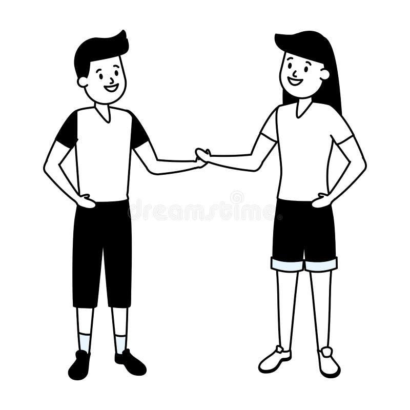 Ragazza e ragazzo felici royalty illustrazione gratis