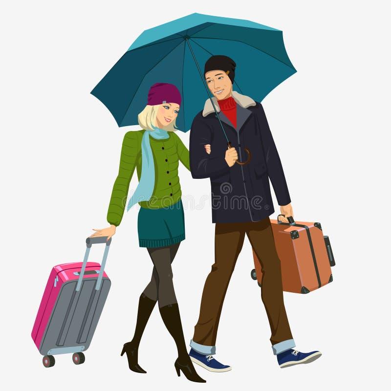 Ragazza e ragazzo sotto l'ombrello illustrazione di stock