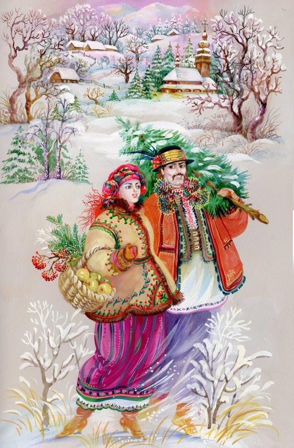 Ragazza e ragazzo in vestiti tradizionali illustrazione vettoriale