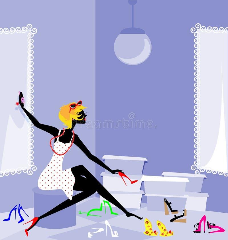 ragazza e scarpe royalty illustrazione gratis