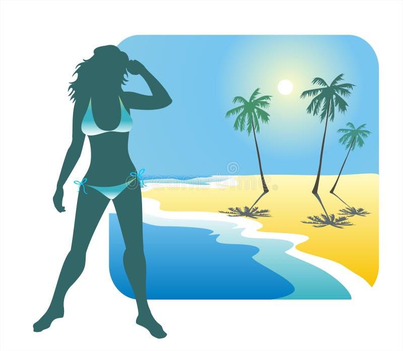 Ragazza e spiaggia royalty illustrazione gratis