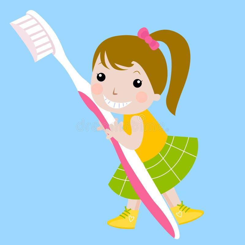 Ragazza e toothbrush illustrazione di stock