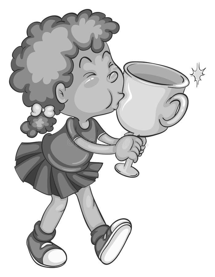 Ragazza e trofeo illustrazione vettoriale