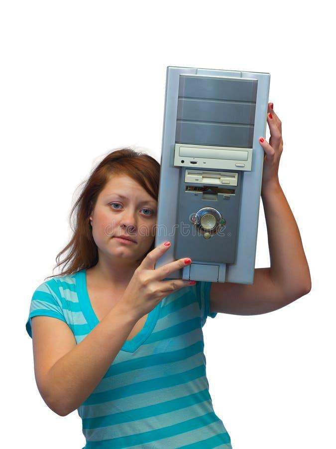 Ragazza e vecchio calcolatore fotografia stock