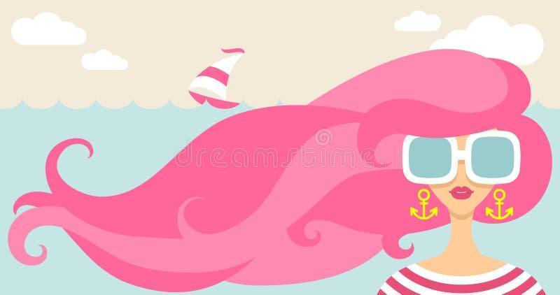 Ragazza e vento del mare illustrazione di stock