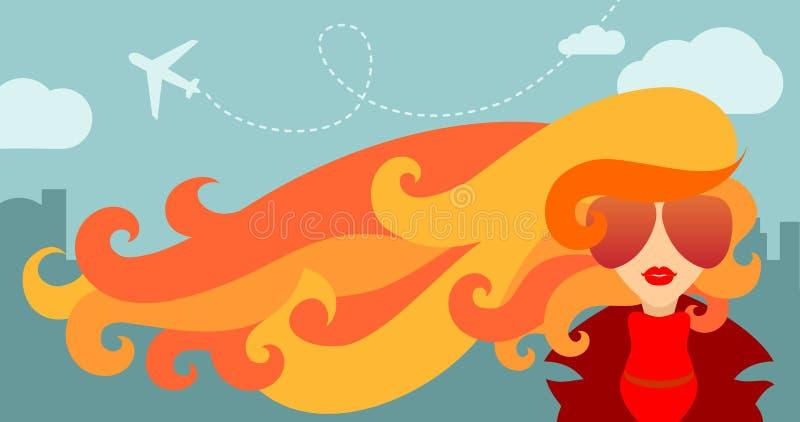 Ragazza e vento di autunno illustrazione vettoriale