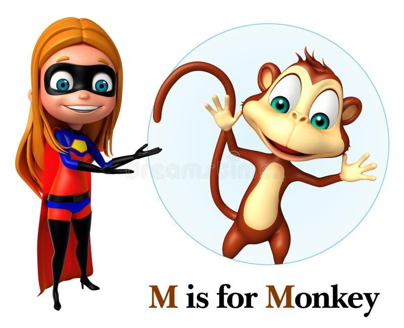 Ragazza eccellente che indica scimmia illustrazione di stock