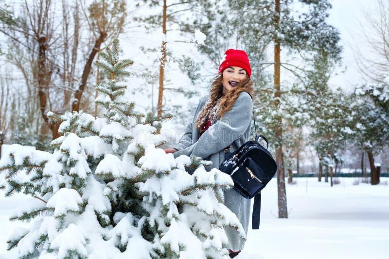 Ragazza ed albero dei pantaloni a vita bassa nell'inverno fotografia stock libera da diritti
