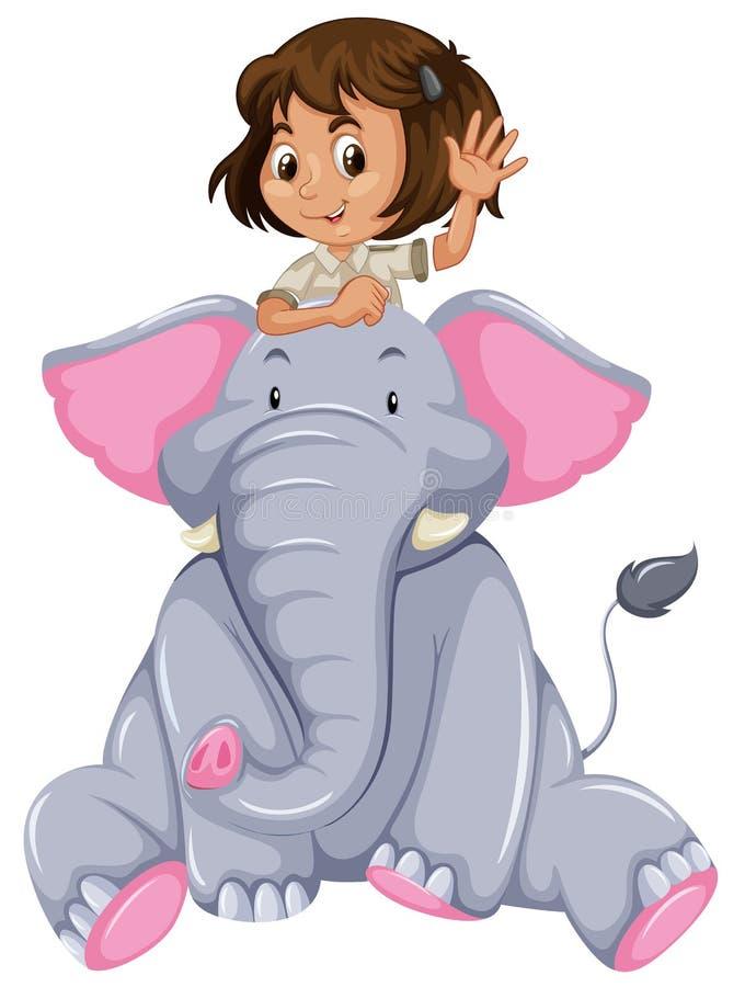 Ragazza ed elefante royalty illustrazione gratis