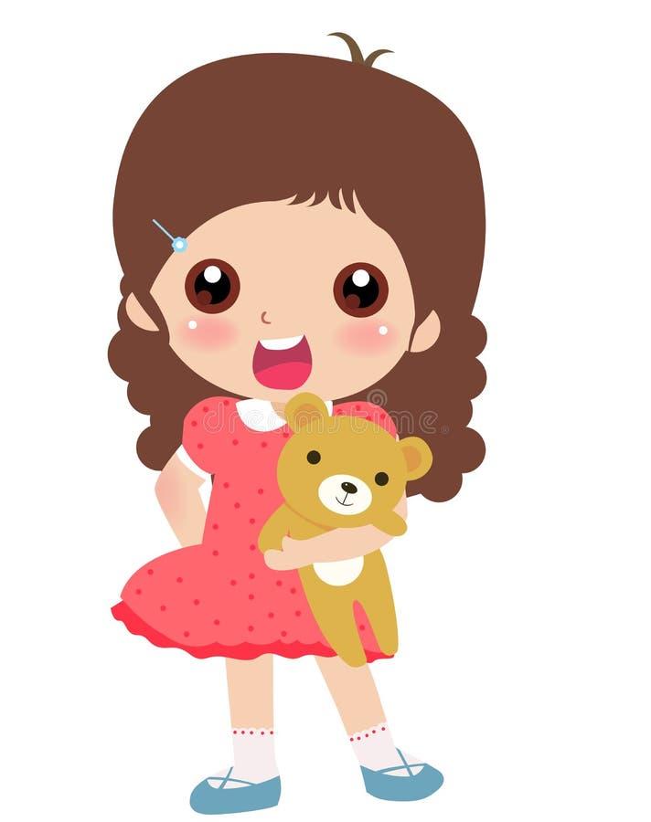 Ragazza ed orso di orsacchiotto illustrazione di stock