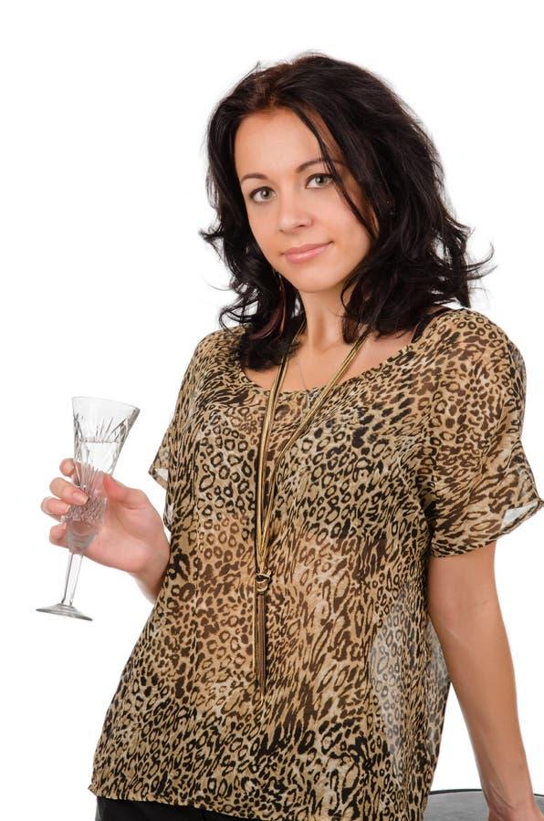 Ragazza facile che tiene un champagne fotografie stock libere da diritti