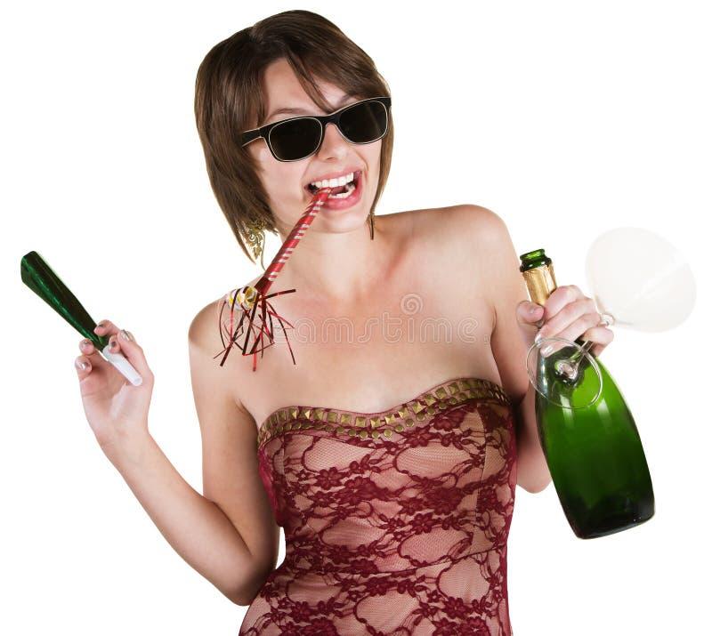 Ragazza facile con la bottiglia di vino fotografie stock