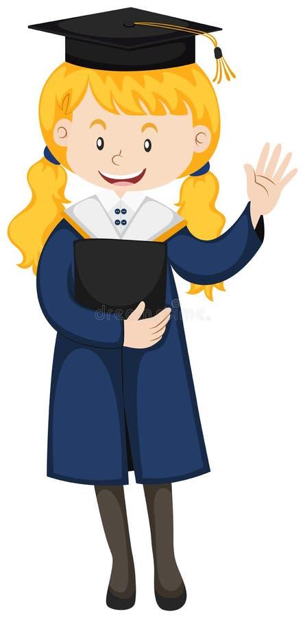 Ragazza felice in abito di graduazione illustrazione vettoriale