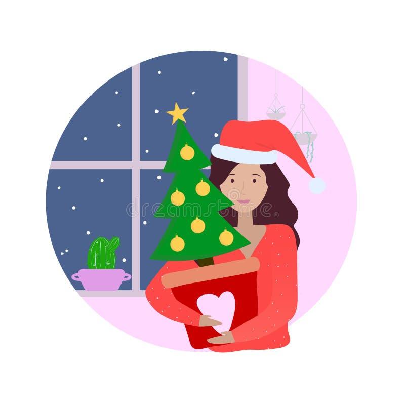 Ragazza felice in cappello di natale con l'albero a casa nella sera di inverno Preparazione al partito del nuovo anno e di natale illustrazione di stock