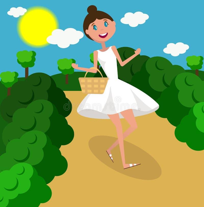 Ragazza felice che cammina il giorno soleggiato Illustrazione piana di progettazione, vettore illustrazione vettoriale